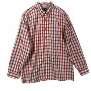 Eddie Bauer Button Down Long Sleeve Shirt L Red
